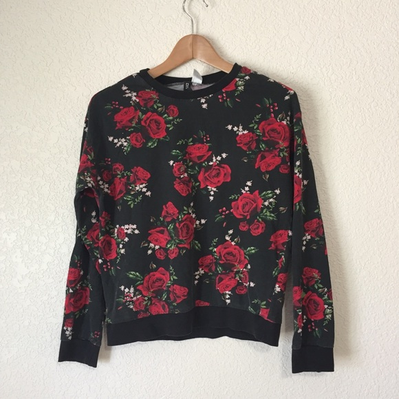 Sweatshirt Faded With Red Black Floral Motif n0mNv8wO